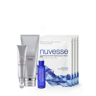 Tria Beauty Eye Nourishing & Firming Deluxe Kit with Priming Cleanser, Nourishing Eye Renewal Cream and 4 Nuvesse Firming & Anti-aging Masks and serum roller vial